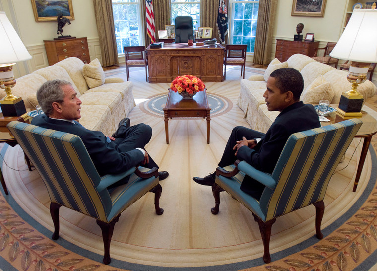 Image: President Bush and Barack Obama in Oval Office