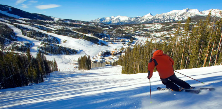 A skier carves the slopes at Big Sky Resort in southwestern Montana, a spot that remains popular with Montanans, and has maintained much of the state's casual attitude.