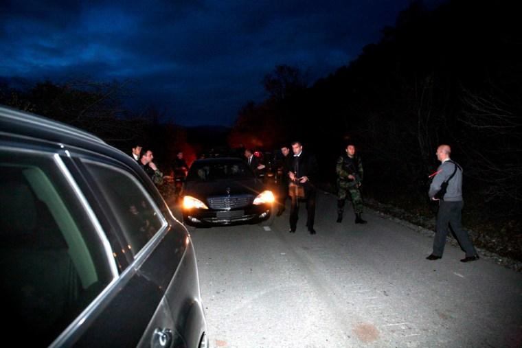 Limousine of the presidential convoy that carried Polish President Lech Kaczynski and and Georgian President Mikhail Saakashvili