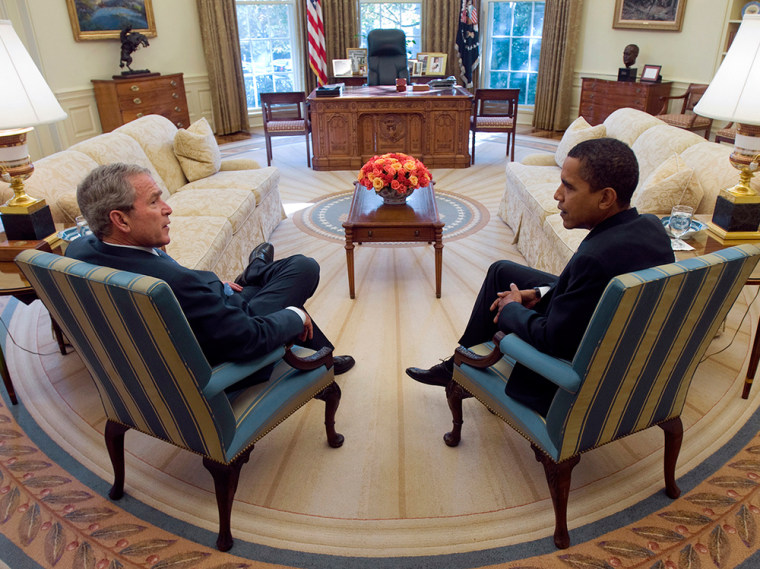 Image: U.S. President George W. Bush and President-elect Barack Obama meet in the Oval Office