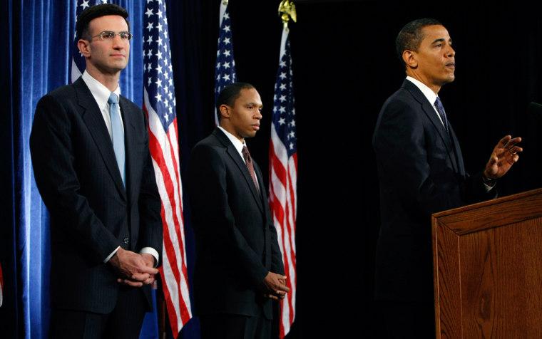 Image: Peter Orszag, Rob Nabors and President-elect Barack Obama