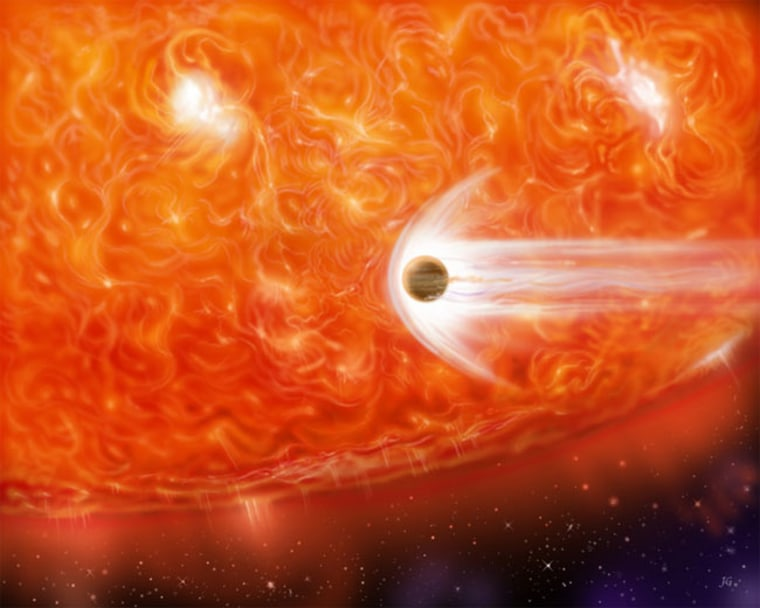 This artist's impression shows a red supergiant engulfing a Jupiter-like planet as it expands. The red giant HD 102272 will likely not engulf its planet for another 100 million years when it begins to mushroom dramatically. Credit: NASA