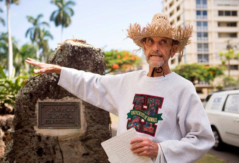 Image: Tour guide Jack Christenson leads a tour