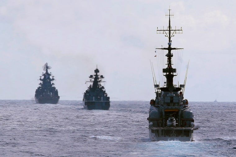 Image: Russian and Venezuelan warships conduct a joint naval exercises in the Caribbean sea