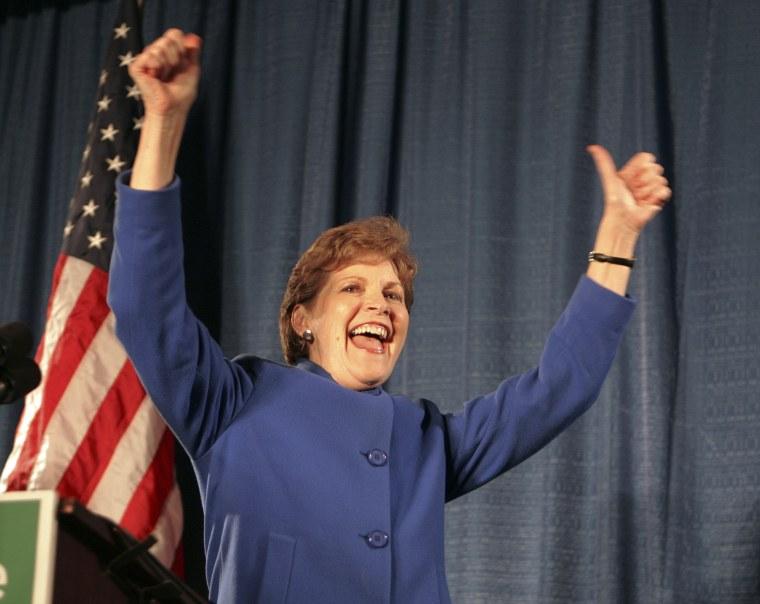 Democratic Senator-elect Jeanne Shaheen greets a cheering crowd in Manchester, N.H., after defeating RepublicanSen. John Sununu.