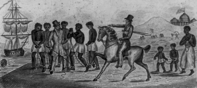 An abolitionist print, possibly engraved in 1830, shows slaves being sold by one trader to another.