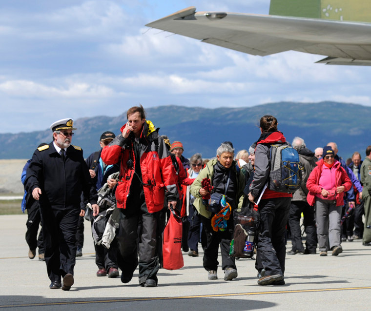 Image: Rescued passengers from the cruise ship Ushuaia arrive in Argentine city of Ushuaia