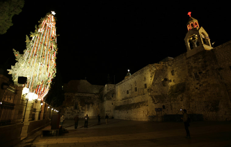 Image: Christmas tree stands after lighting ceremony in Bethlehem
