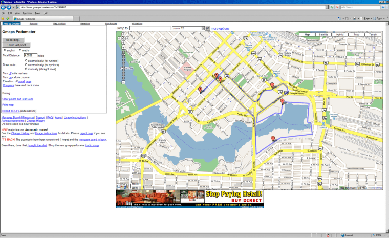 This screen shot shows a jogging route plotted using the online mapping tool Gmap-Pedometer.com.