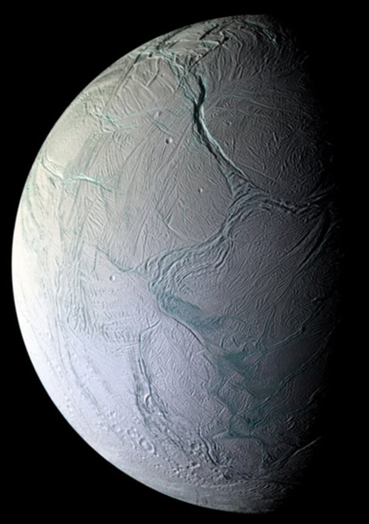 This image of the surface of Enceladus reveals the moon's surface as replete with fractures, folds and ridges — all hallmarks of remarkable tectonic activity for a relatively small world.