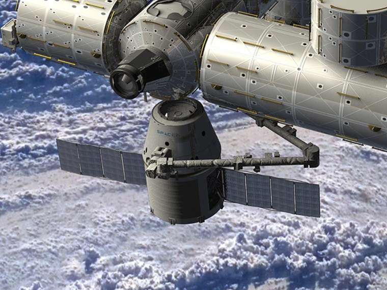 An artist's conception shows SpaceX's Dragon capsule delivering cargo to the International Space Station.