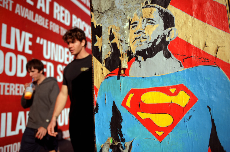 A poster of US President-elect Barack Ob