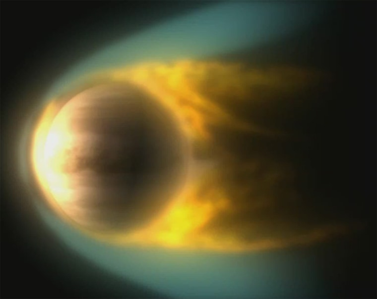 Venus, like Earth and Mars, is immersed in a flow of charged gas from the sun. Since Venus (and Mars) doesn't have a magnetic field, gases in the upper atmosphere become charged and interact with the solar wind. Scientists think the solar wind gives the charged particles enough energy to escape and that's why Venus is losing its atmosphere. Credit: ESA