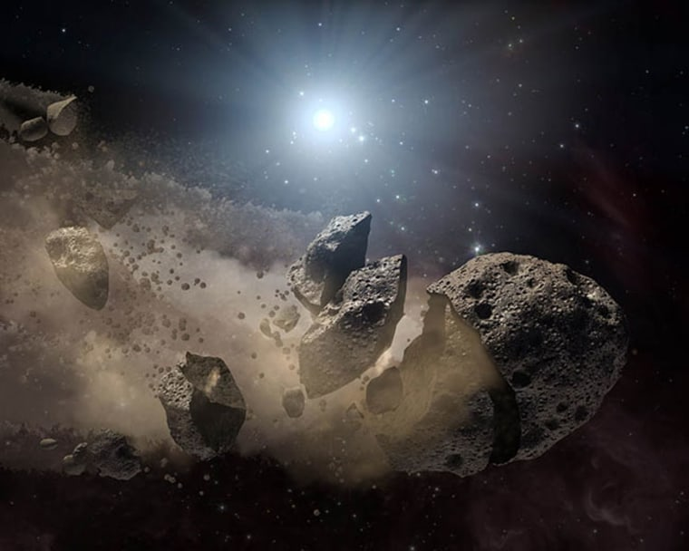 This artist's concept illustrates a dead star, or white dwarf, surrounded by the bits and pieces of a disintegrating asteroid. The scene suggests the raw material for planets like Earth are common. Credit: NASA/JPL-Caltech
