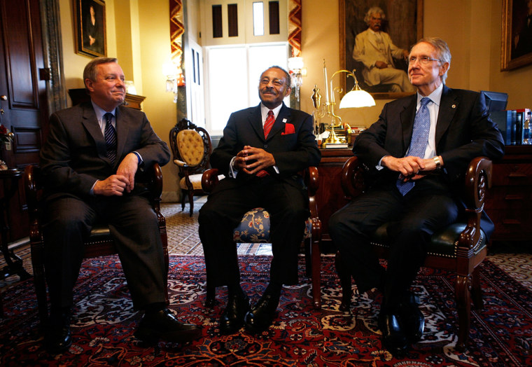 Image: Burris Meets With Reid And Durbin On Capitol Hill