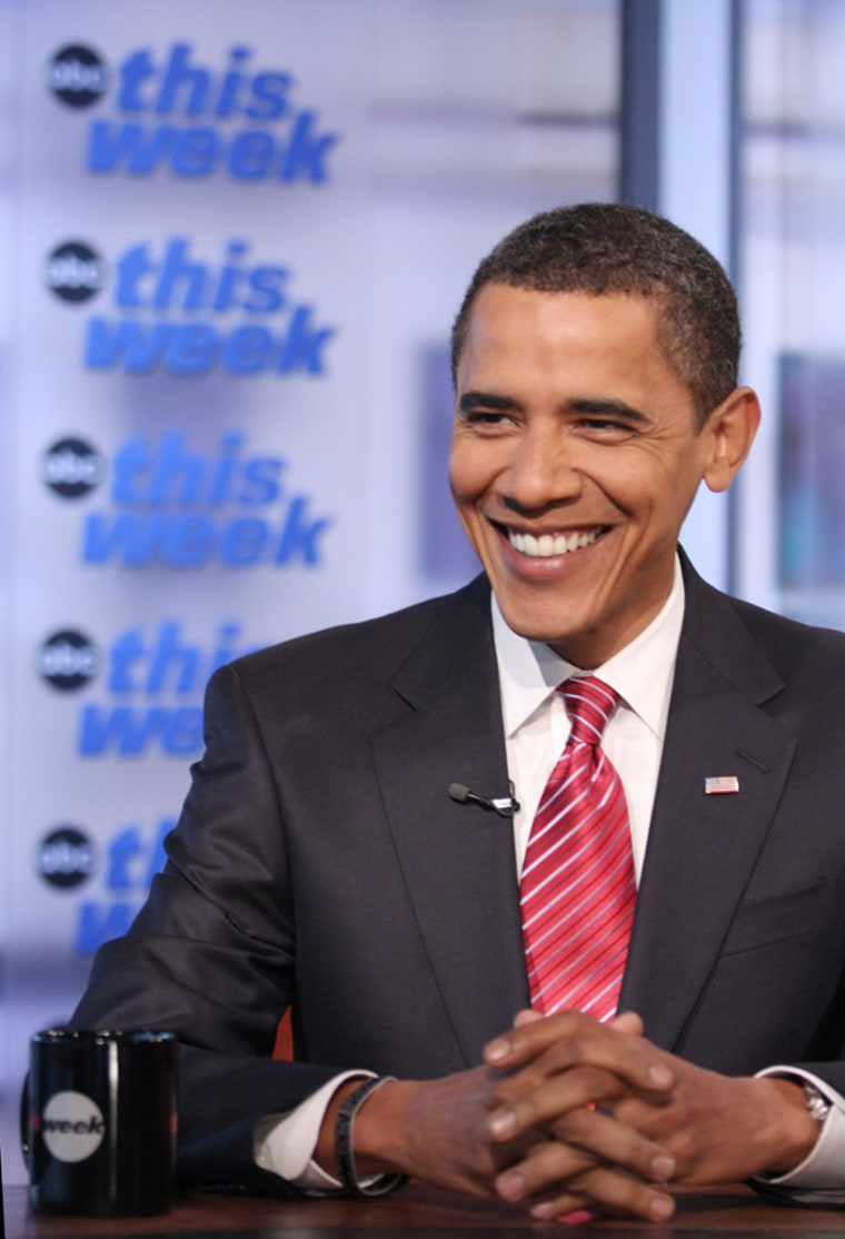 President-elect Barack Obama talks with ABC's George Stephanopoulos on Saturday.