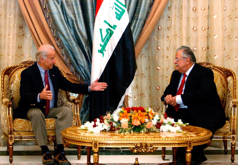 Image:  Joe Biden meets with Iraqi President Jalal Talaban