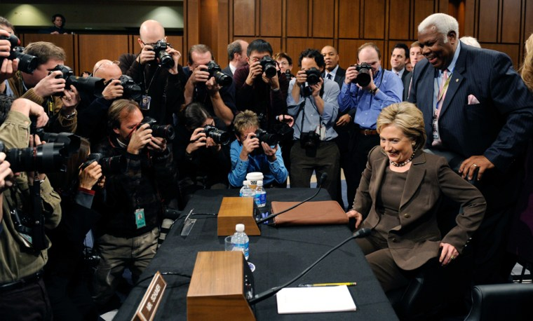 Image: Sen. Hillary Clinton is seated at the hearing