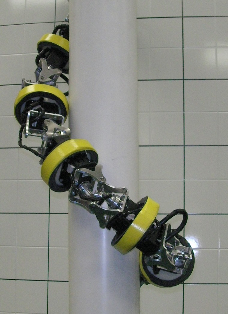 Snake-like robots, like this original HyDRAS-Ascent prototype, have been designed to roll up poles, scaffolding or more complicated obstacles and may soon be lending construction workers and others a flexible hand.