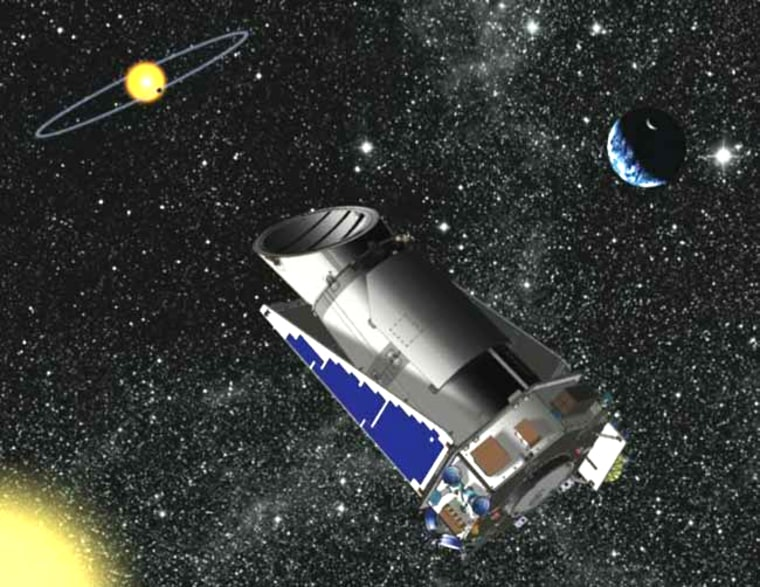 An artist's interpretation of the Kepler observatory in space.