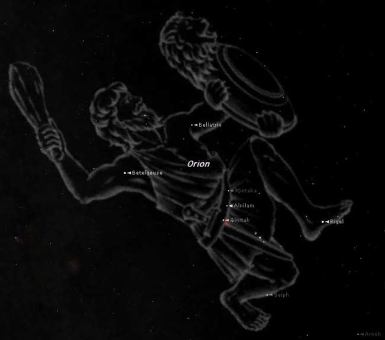 Orion as imagined, with the stars that make it up. This view shows the hunter as of around 8 p.m. local time this week from the southern United States. Look high in the southeast to first find the tight group of three stars that make up Orion's belt. Image credit: Starry Night Software