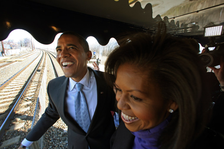 U.S. President-elect Barack Obama and his wife Michelle is pictured enroute Claymont on his whistle stop train trip to Washington, DC