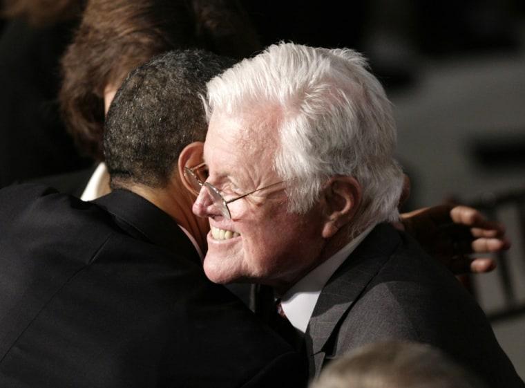 Image: Senator Ted Kennedy hugs U.S. President Barack Obama