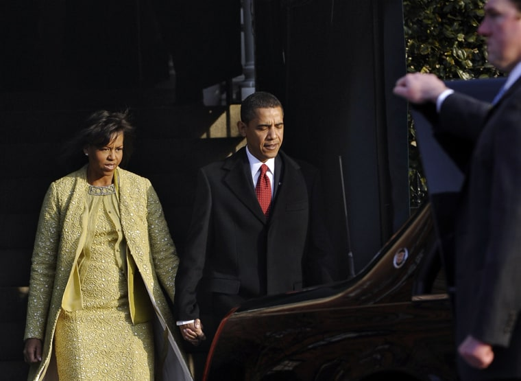 Image: The Obama's head to church on Inauguration day.