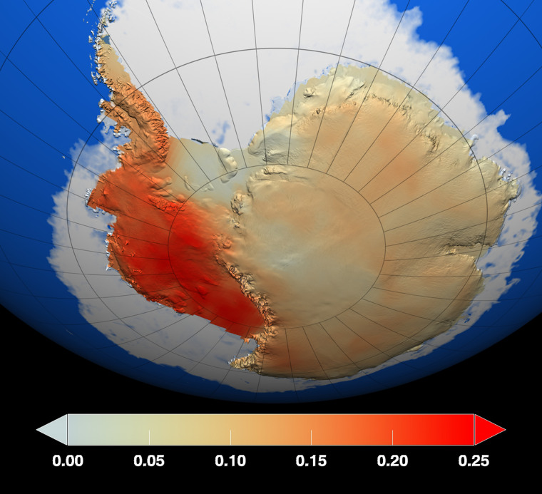 This map by NASA shows temperature changes over the last 50 years on Antarctica. West Antarctica, separated from the east by a long mountain range, warmed faster. Temperature changes are measured in degrees Celsius.