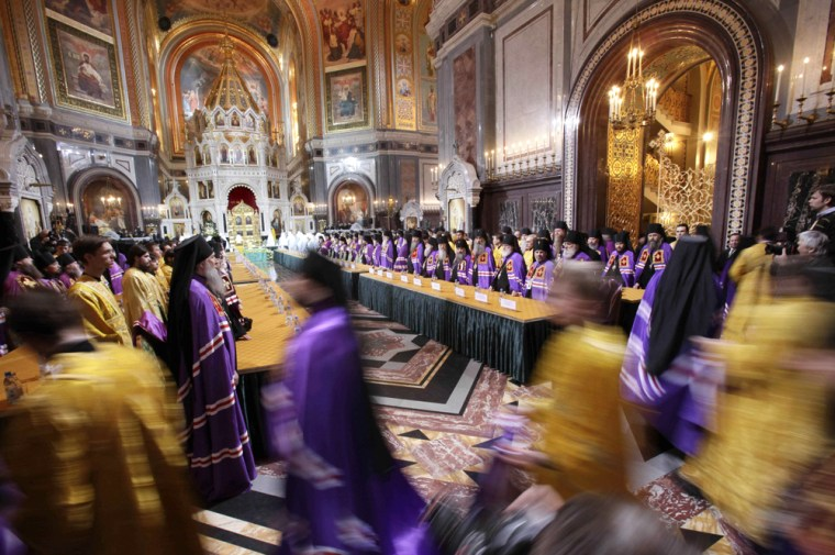 Image: Clergymen enter Moscow's Christ the Saviour Cathedral