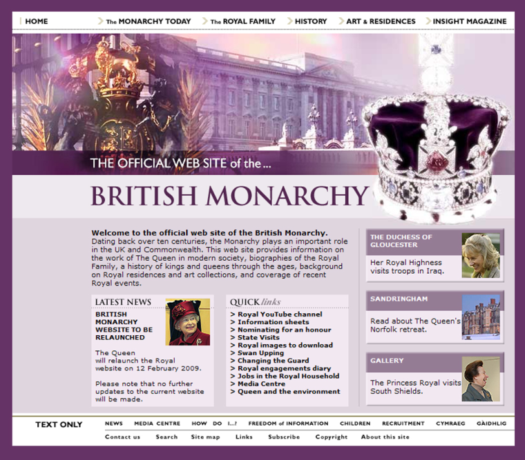 Image: The Queen's updated web site