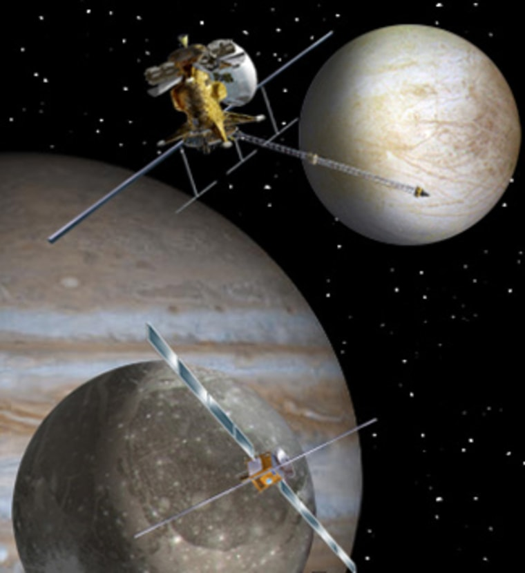 An artist concept of proposed mission to the Jupiter system, the Europa Jupiter System Mission could launch in 2020. Credit: NASA.