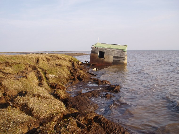 Thiscabin along Alaska's Arcticcoastline was recently washed into the ocean when the bluff eroded away.