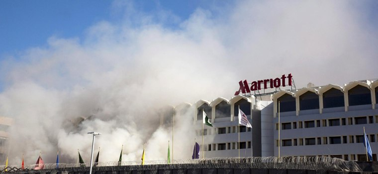 Image: Marriott Hotel on fire in Islamabad, Pakistan