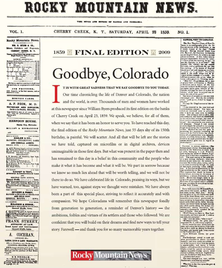 Image: last front page of the Rocky Mountain News