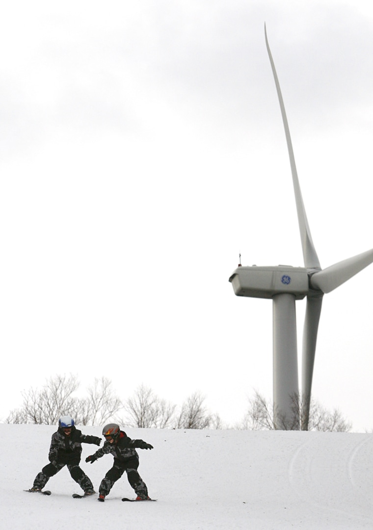 Image: wind turbine at Jiminy Peak ski resort