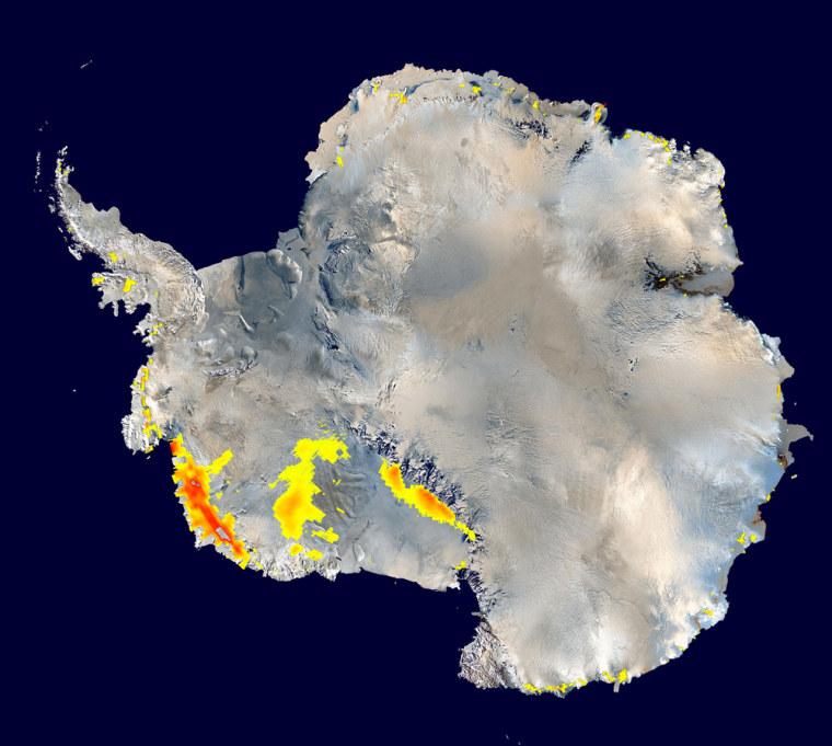 Image: NASA's QuikScat satellite detected extensive areas of snowmelt