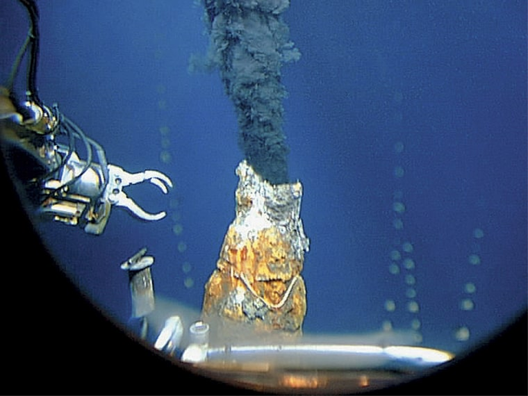 This 1997 photo released by the Woods Hole Oceanographic Institution shows the robotic arm of an unmanned aquatic vehicle reaching toward a hydrothermal vent in the east Pacific Ocean far off the coast of Chile.