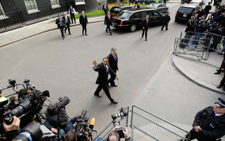 Image: President Obama and British Prime Minister Brown in London