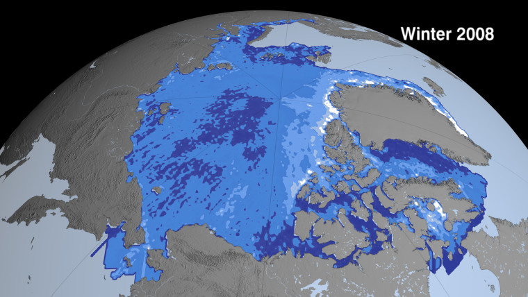 This map shows Arctic sea ice thickness on average last winter. White areas are the thickest, and dark blue the thinnest.