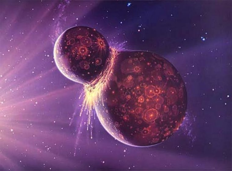 Artist's conception of the hypothetical impact of Theia and young Earth. Credit: NASA/GSFC