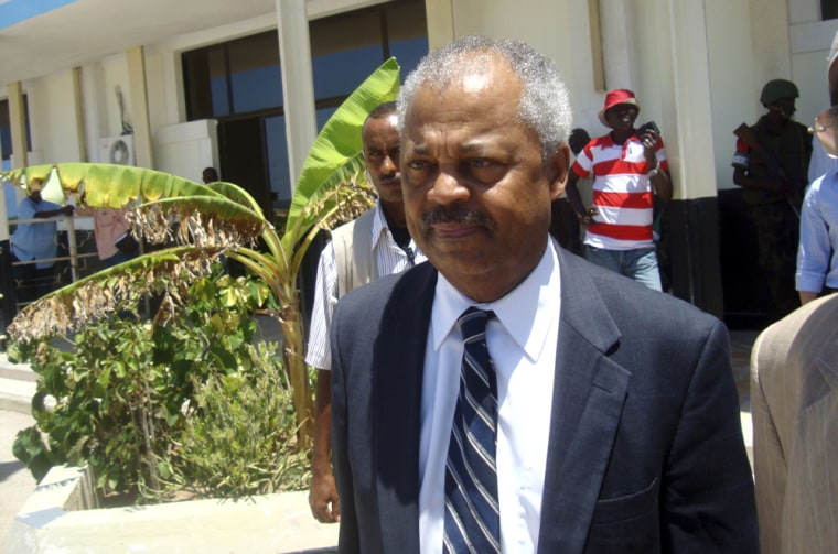 Image: U.S. congressman Payne arrives at the airport in Somalia's capital Mogadishu