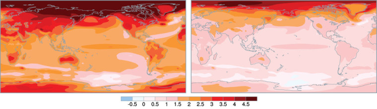Unchecked emissions of greenhouse gases would create a much warmer world, according to a new computer analysis showing average surface temperature projections for the end of the century (left). The map at rightprojects temperature changes if emissions are cut by 70 percent. The numbers on the bar show changes in Celsius compared with today's average temperatures.