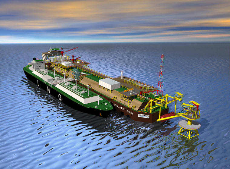 This artist's concept of what the Long Island Sound LNG terminal would look likeshows a tanker tied up to the terminal.