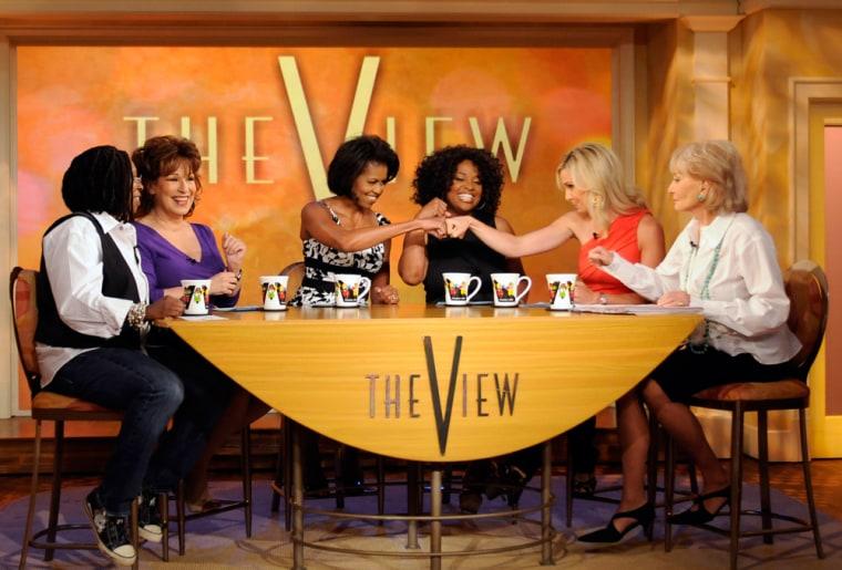 Michelle Obama,  Whoopi Goldberg,  Sherri Shepard, Joy Behar, Barbara Walters and Elisabeth Hasselbeck