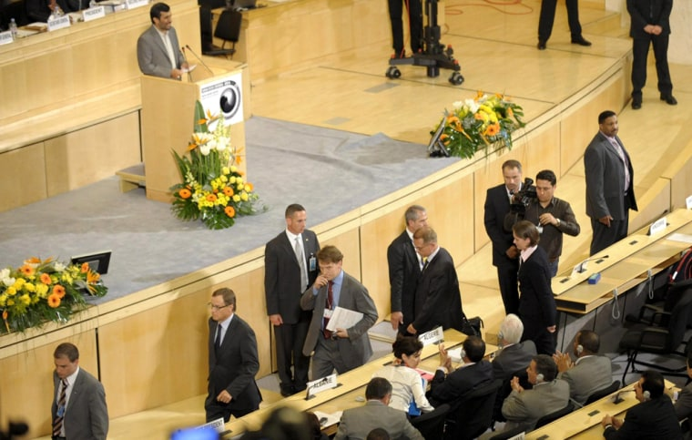 Image: European Union delegates leave the assembly room during the speech of Iranian President Mahmoud Ahmadinejad