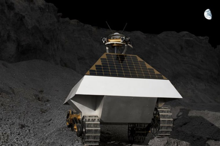 """A depiction of private company Astrobotic's """"Red Rover"""" on the moon. Astrobotic is one of the teams racing to land a private robot on the moon and win the Google Lunar X Prize."""