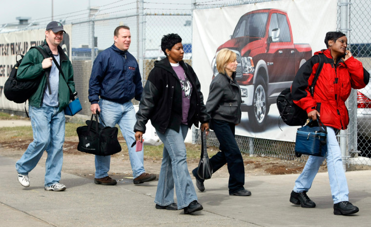 Image: Chrysler LLC auto workers arrive for their shift at the Warren Truck plant in Warren