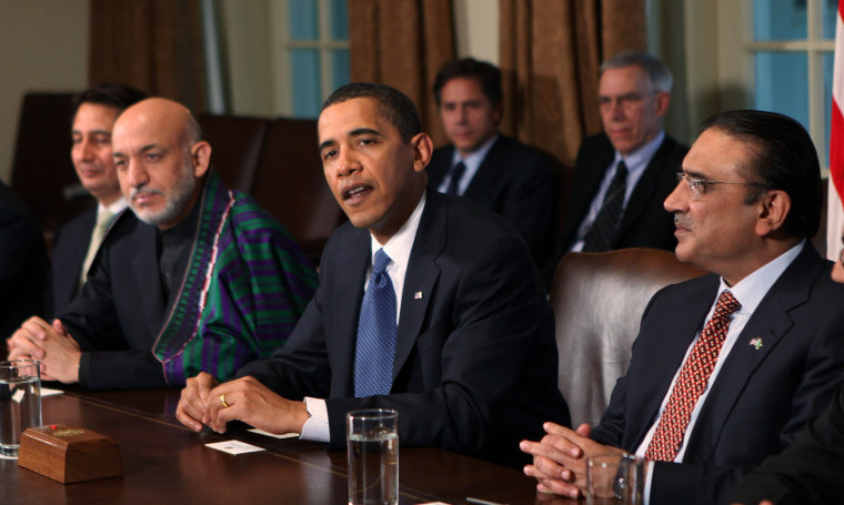 Image: Obama,Karzai And Zardari Brief Media After White House Meetings