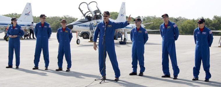 Image: Space Shuttle Atlantis Crew arrives at Kennedy Space Center
